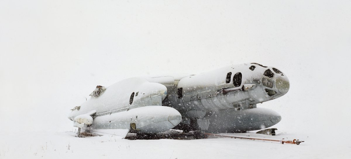 Danila Tkachenko: »#1«, 2013. Airplane - amphibia with vertical take-off VVA14. The USSR built only two of them in 1976, one of which has crashed during transportation. Russia, Moscow area, from the series »Restricted Areas«